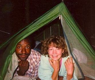 noel and teresa in tent